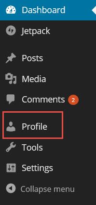 Update profile menu.