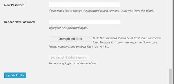 Change password screen.