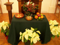 Christmas pulpit flowers.