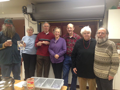 Guest Mark Caherty with UU's Linda and Bud Dirscherl, Cathy and Charlie Strickler, Chris Edwards and Robin McNallie.